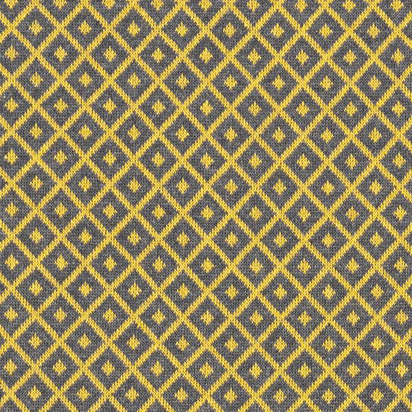 Tricot Jacquard recyclé losanges – gris/moutarde