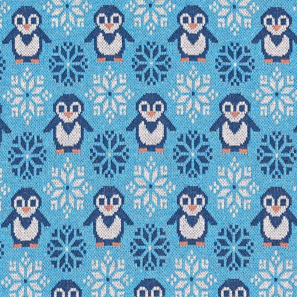 Jacquard maille En fibres recyclées Pingouins amusants – turquoise/bleu