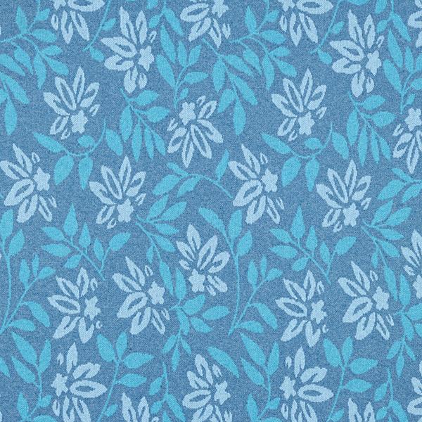 Tricot Jacquard recyclé fleurs et feuilles – bleu jean