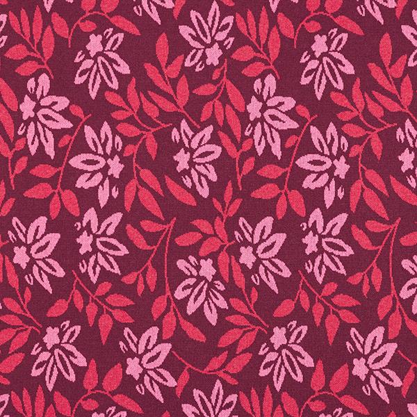 Tricot Jacquard recyclé fleurs et feuilles – rouge bordeaux