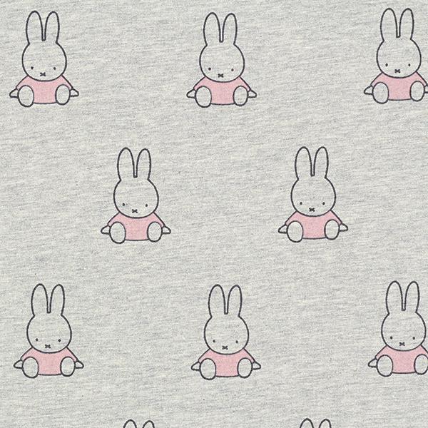 Jersey coton Lapin Miffy assis – gris clair/rose