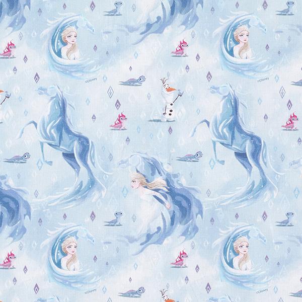 Popeline coton Glace Cheval | Disney La Reine des Neiges 2 – bleu bébé