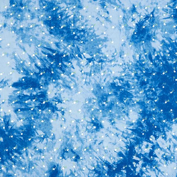 Tissu de chemisier Viscose Aspect batik à petites fleurs – bleu