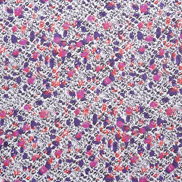 Baumwoll-Seide Voile Abstrakt – rot/lila