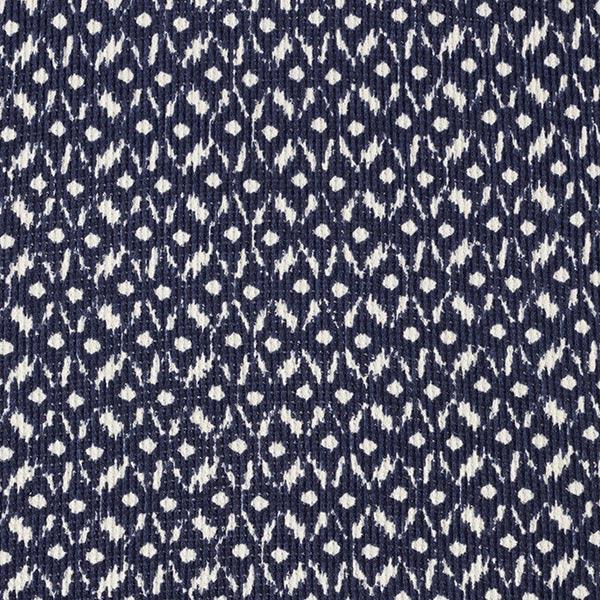 Maille côtelée Motif batik Losanges – bleu marine/écru