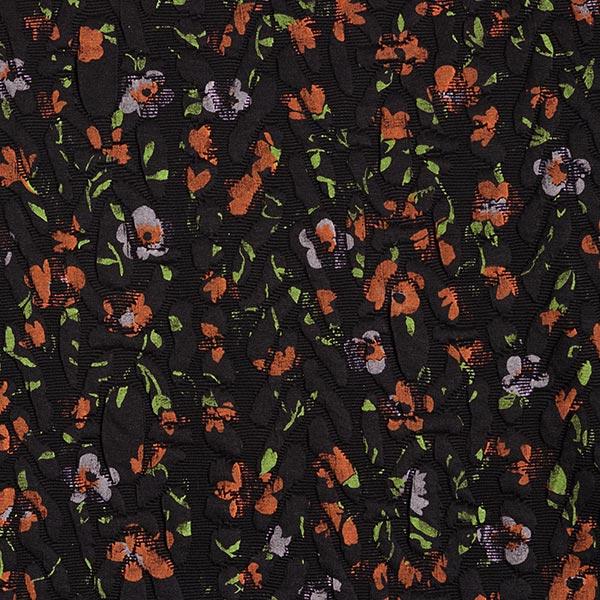 Jersey Jacquard Cloqué Imprimé fleurs – noir/terre cuite