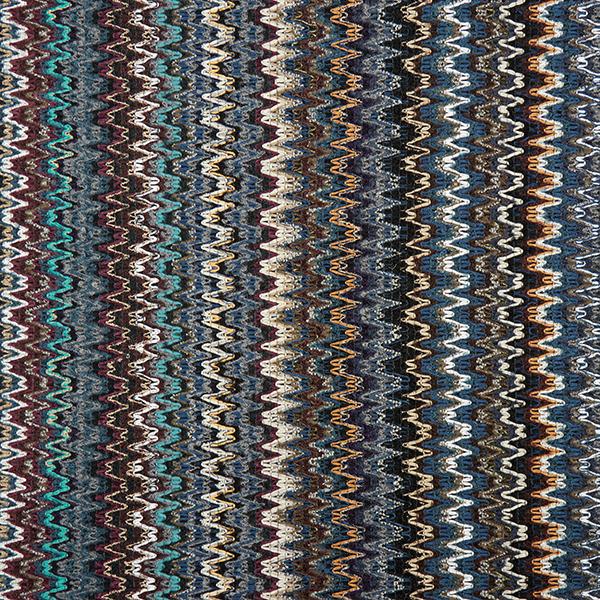 Tissu pour manteau Tricot à effets avec des ondes – noir/bleu jean