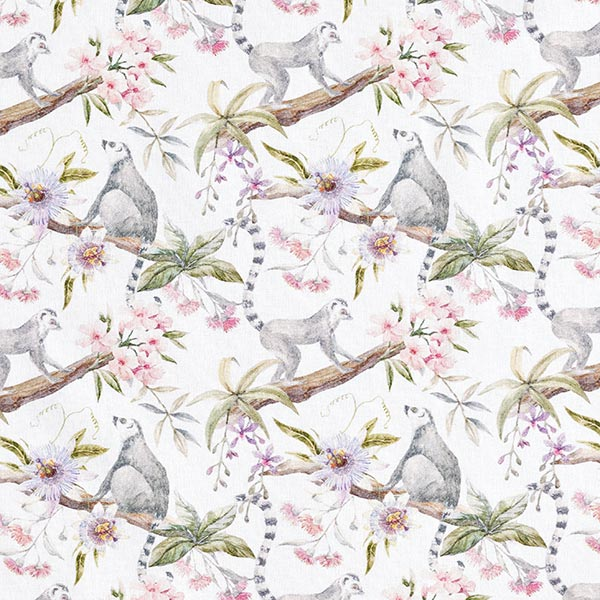 Tissu de décoration Popeline coton Joyeux lémuriens
