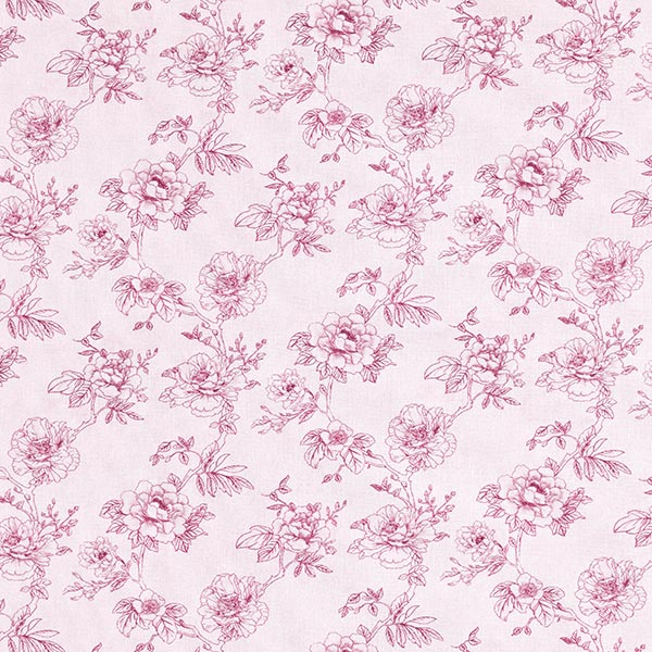 Dekostoff Baumwollpopeline Wildrosen – rosa