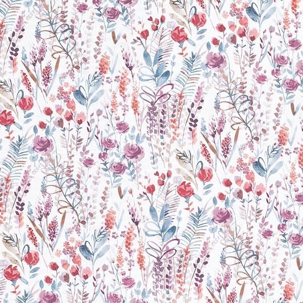 Dekostoff Baumwollpopeline Wildblumen – purpur/petrol