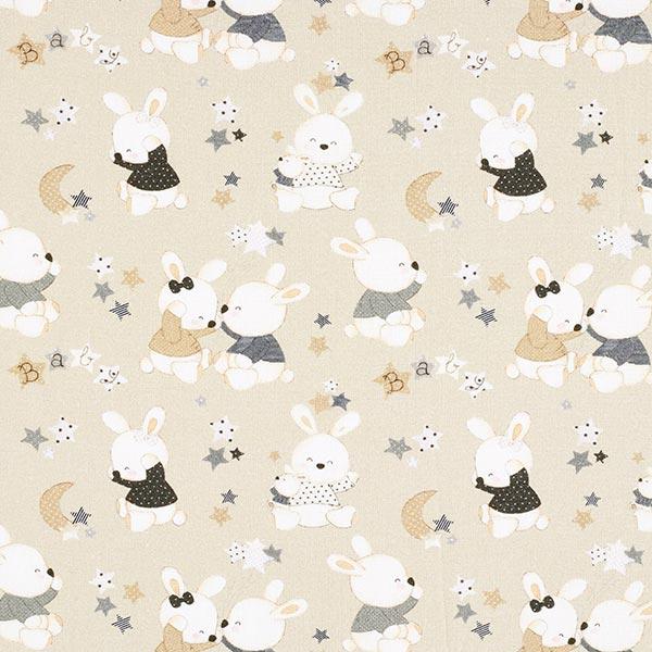 Baumwollstoff Cretonne Baby Hase – beige