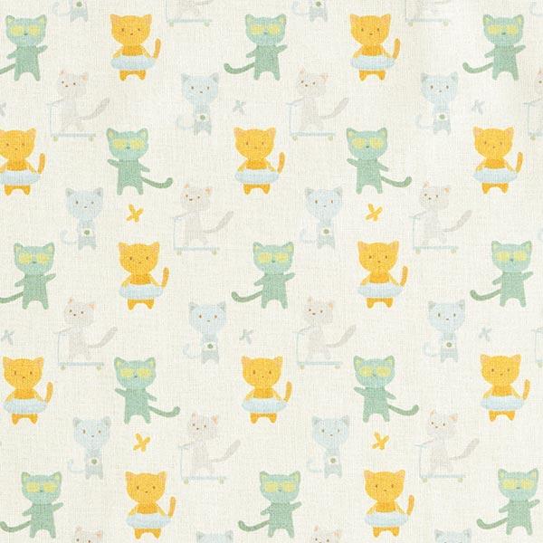 Tissu de décoration cretonne Chats oisifs – écru