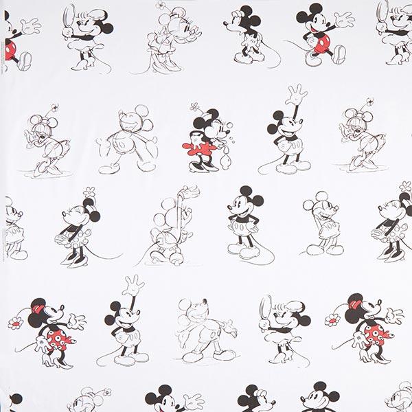 Tissu de décoration Sergé coton Disney Mickey & Minnie – blanc