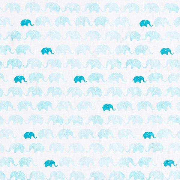 Tissu de décoration cretonne Polonaise d'éléphants – blanc/bleu aqua