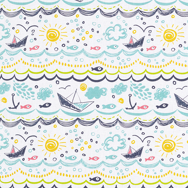 Tissu de décoration cretonne Journée d'été à la mer – blanc