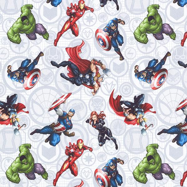 Cretonne Tissu sous licence Avengers | Marvel – gris clair
