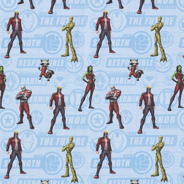 Cretonne Tissu sous licence «Gardiens de la galaxie»   Marvel – bleu clair