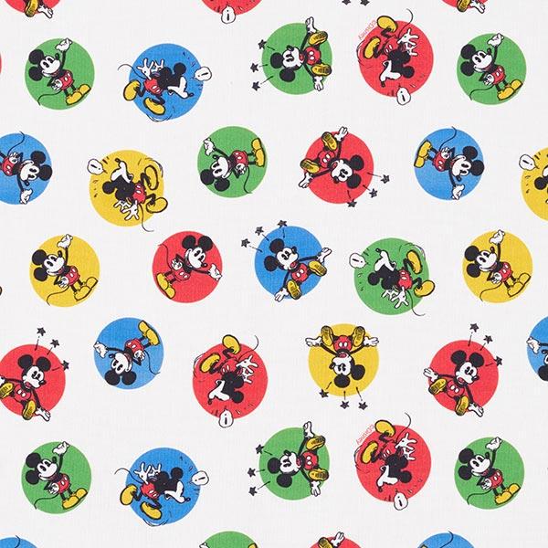 Baumwollpopeline Mickey Mouse Bunte Kreise  | Disney – weiss