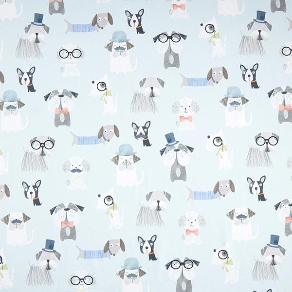 Dekostoff Baumwollköper Hunde – aquablau