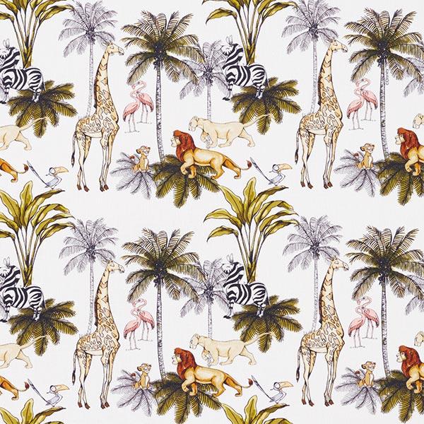 Popeline coton Roi lion dans la jungle  | Disney – blanc