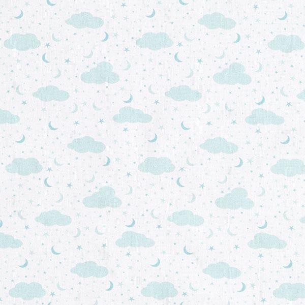 Tissu de décoration cretonne Ciel, lune et étoiles – blanc/bleu aqua