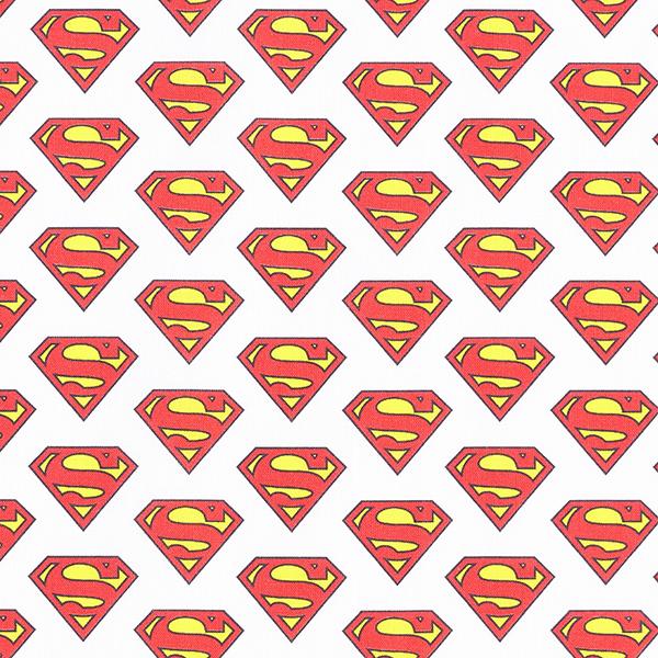 Cretonne Tissu sous licence Logo Superman | DC Comics – blanc