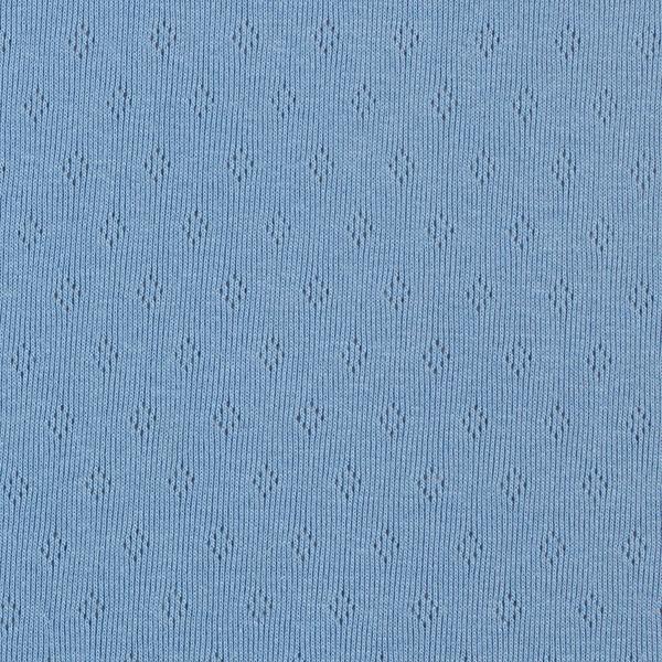 Jersey maille fine Motif à trous – bleu