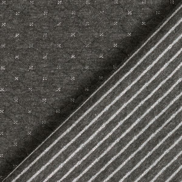 Jersey matelassé double face avec croix pailletées et rayures – gris foncé