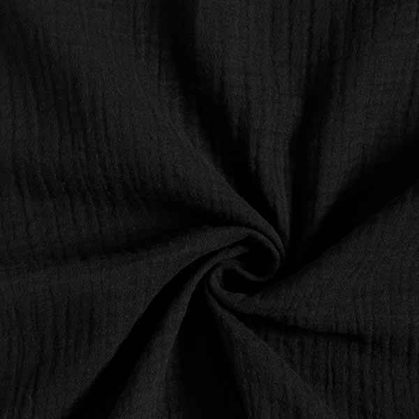 GOTS Musselin/ Doppel-Krinkel Gewebe | Tula – schwarz