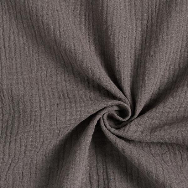 Mousseline / Tissu double crêpe GOTS – gris foncé