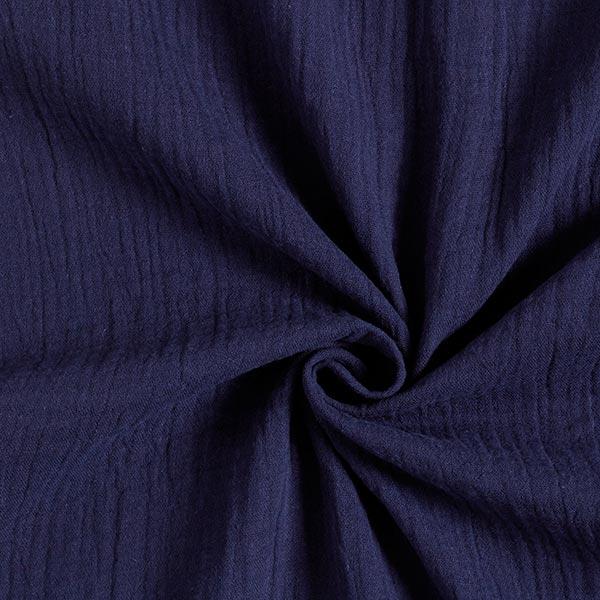 GOTS Musselin/ Doppel-Krinkel Gewebe | Tula – marineblau