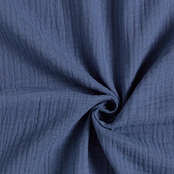 Mousseline / Tissu double crêpe GOTS – bleu jean