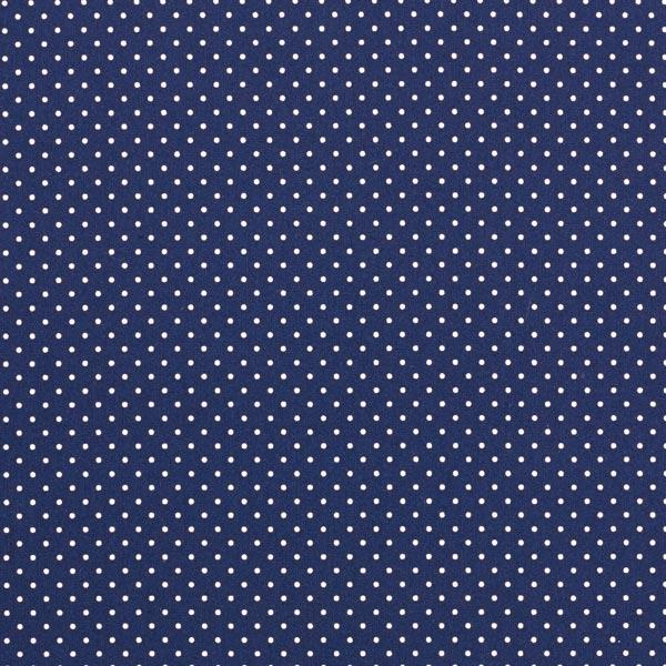 Popeline coton Petits pois – bleu marine/blanc