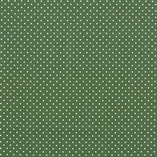 Popeline coton Petits pois – vert foncé/blanc