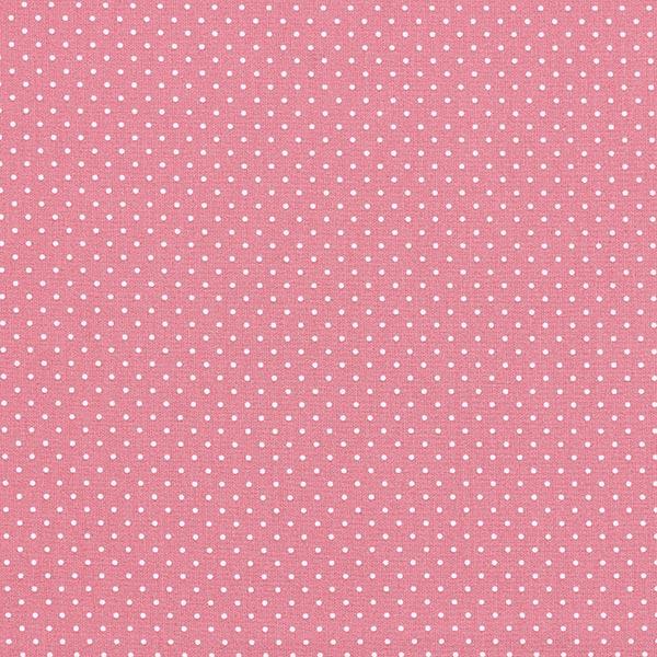 Popeline coton Petits pois – rose/blanc