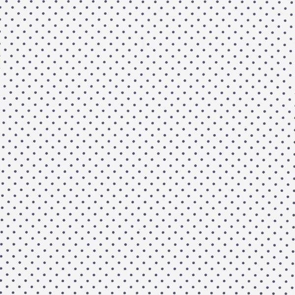 Popeline coton Petits pois – blanc/bleu marine