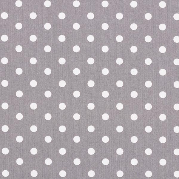 Baumwollpopeline große Punkte – grau/weiss