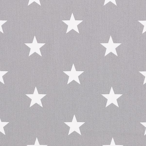 Popeline coton Grandes étoiles – gris/blanc