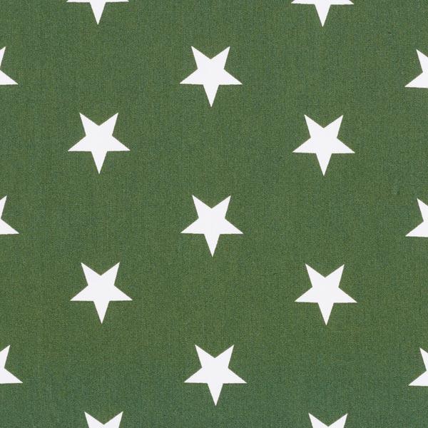 Baumwollpopeline große Sterne – dunkelgrün/weiss