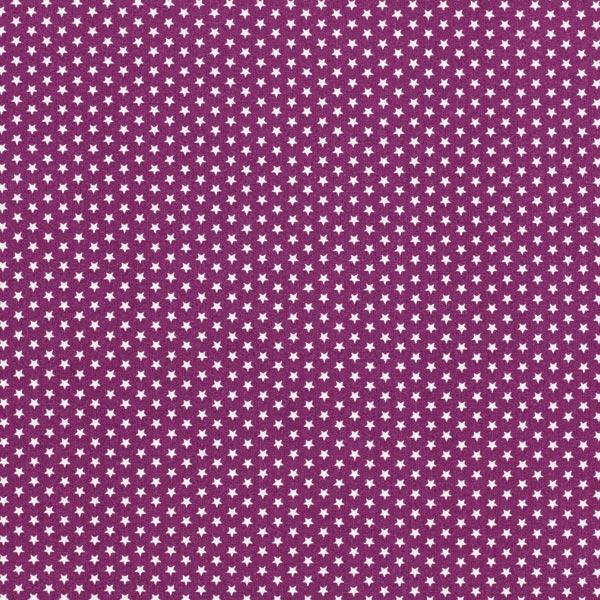 Baumwollpopeline kleine Sterne – rotlila/weiss