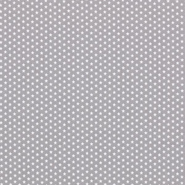 Popeline coton Petites étoiles – gris/blanc