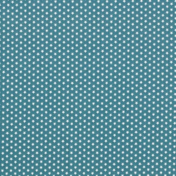 Popeline coton Petites étoiles – pétrole/blanc