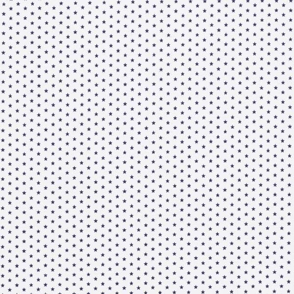 Popeline coton Petites étoiles – blanc/bleu marine