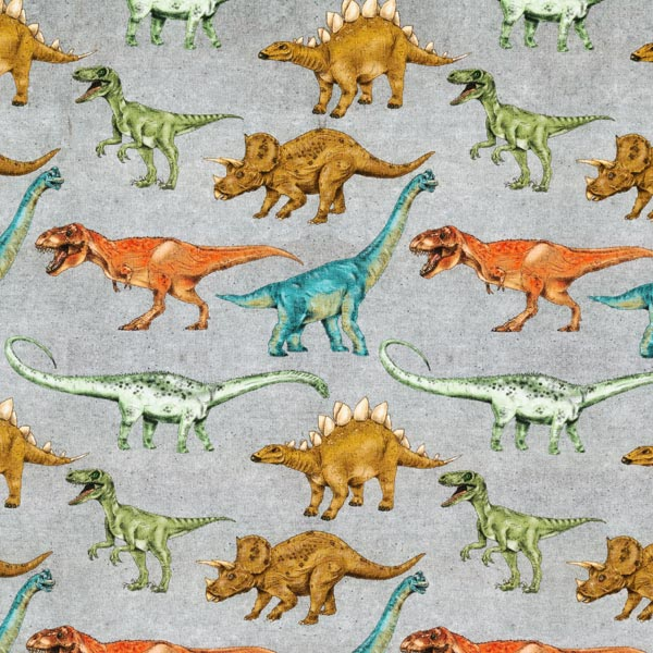 Jersey coton Dinosaures   by Poppy – gris