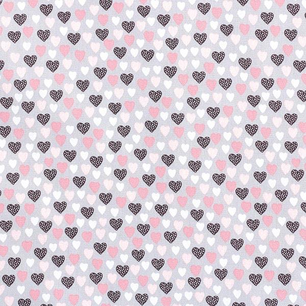 Popeline coton Adorables petits cœurs – gris clair/rose