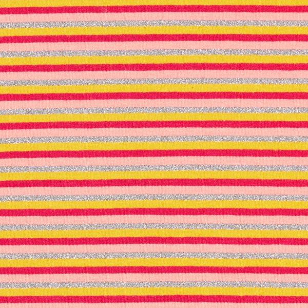 Jersey coton Rayures fines Lurex multicolores – argent/jaune