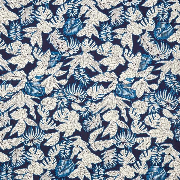 Mélange lin Feuilles tropicales – navy