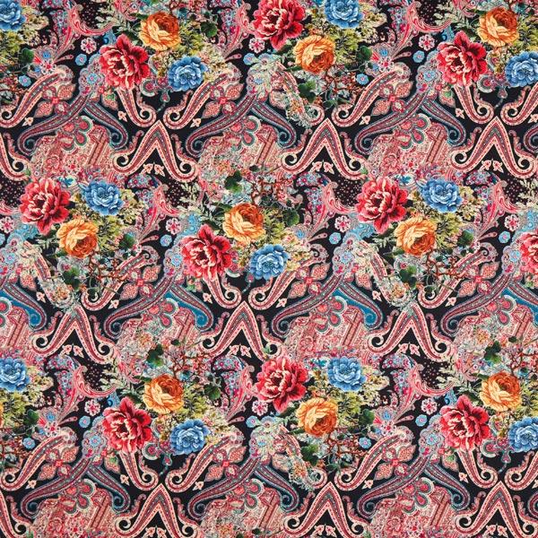 Suede paisley & fleurs – noir