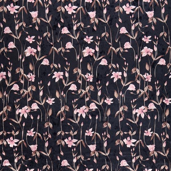 Panne de velours Fleurs à longues tiges – noir