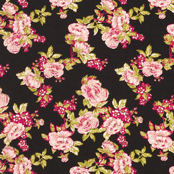 Blusenstoff Rosen mit goldenen Akzenten – schwarz/hellrosa